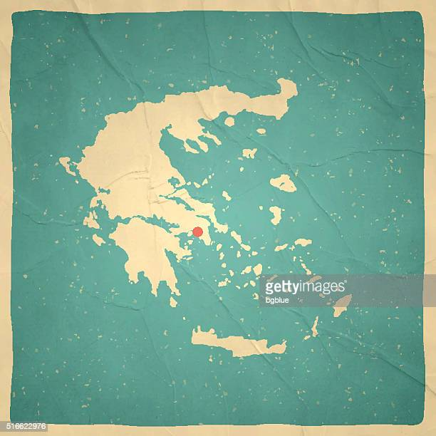 greece map on old paper - vintage texture - athens georgia stock illustrations, clip art, cartoons, & icons