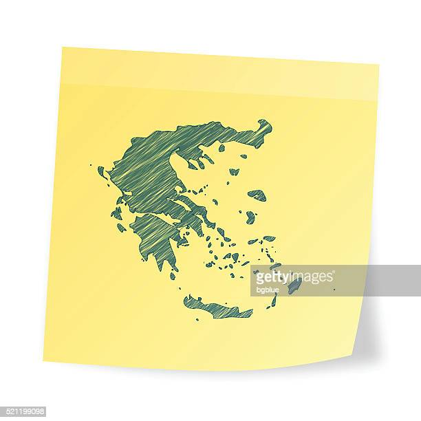 greece map on sticky note with scribble effect - athens georgia stock illustrations, clip art, cartoons, & icons