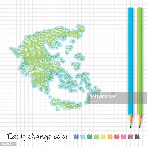 greece map sketch with color pencils, on grid paper - athens georgia stock illustrations, clip art, cartoons, & icons