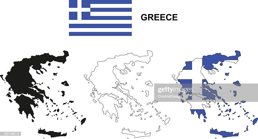Greece Map Vector Greece Flag Vector Isolated Greece Vector Art ...