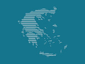 Greece map vector illustration using simple straight lines of white color on blue background