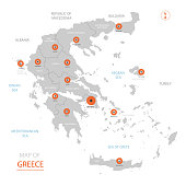 Greece map with administrative divisions.