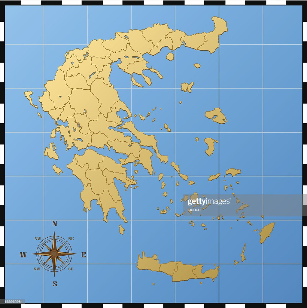 Greece Map With Compass Rose High-Res Vector Graphic - Getty ...