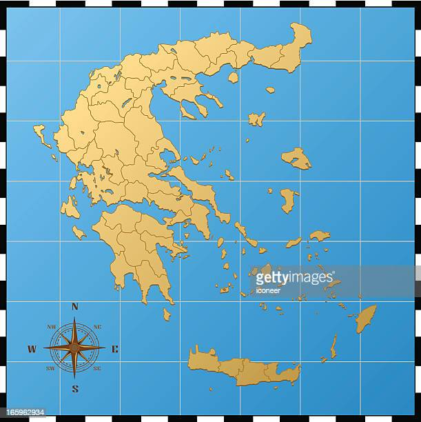Greece map with compass rose
