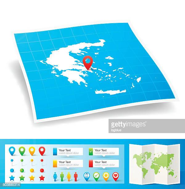 greece map with location pins isolated on white background - athens georgia stock illustrations, clip art, cartoons, & icons