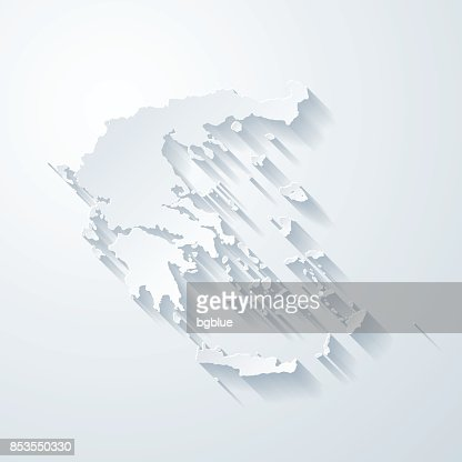 Greece Map With Paper Cut Effect On Blank Background Vector Art