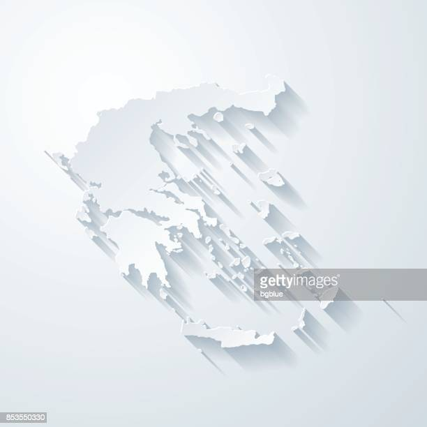 Greece Map Blank.Greece Map With Paper Cut Effect On Blank Background Vector Art