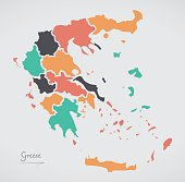 Greece Map with states and modern round shapes