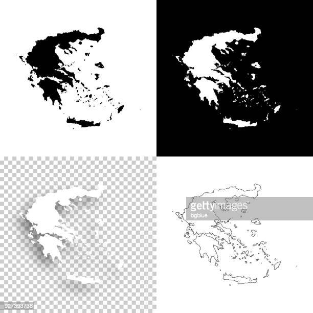 greece maps for design - blank, white and black backgrounds - greece stock illustrations