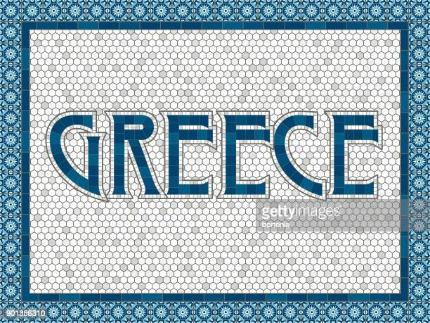 greece old fashioned mosaic tile typography - greece stock illustrations
