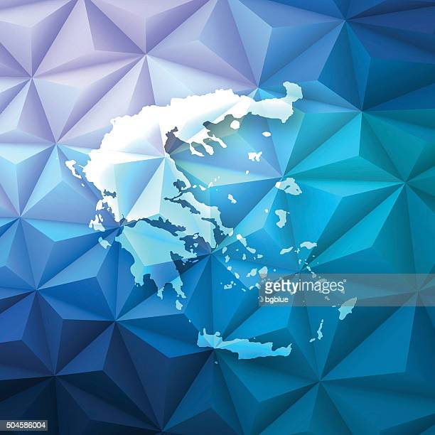 greece on abstract polygonal background - low poly, geometric - athens georgia stock illustrations, clip art, cartoons, & icons