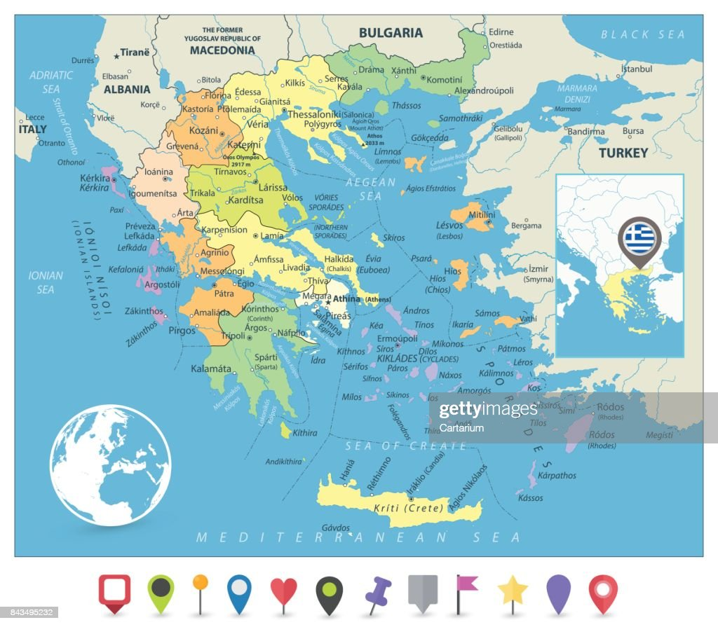 Greece Political Map and Flat Map Markers
