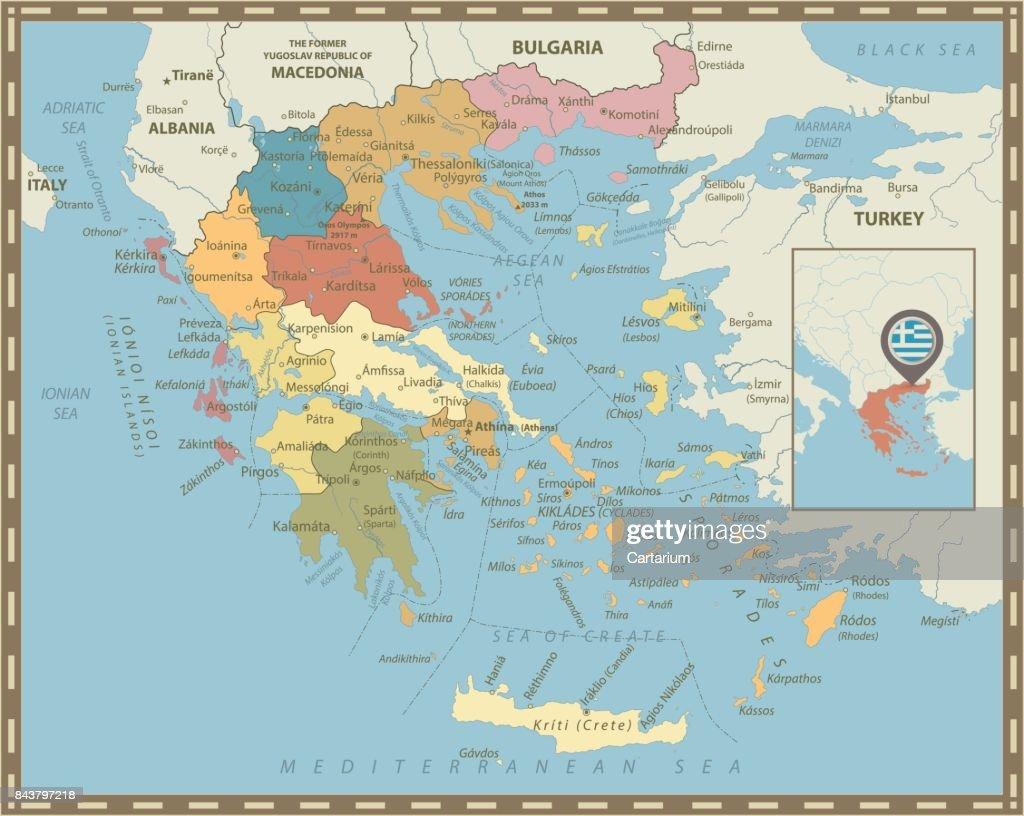 Greece Political Map Vintage Colors