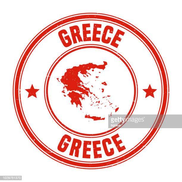 illustrazioni stock, clip art, cartoni animati e icone di tendenza di greece - red grunge rubber stamp with name and map - grecia stato