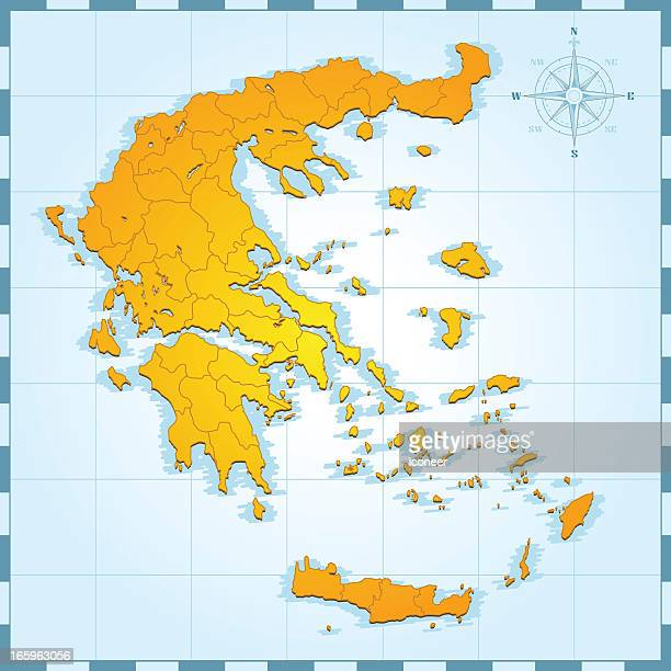 greece retro map - greek islands stock illustrations, clip art, cartoons, & icons