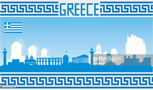 greece skyline - greece stock illustrations