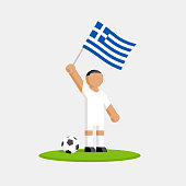 Greece soccer player in kit with flag and ball