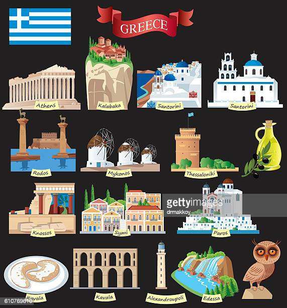 greece symbols - greek islands stock illustrations, clip art, cartoons, & icons