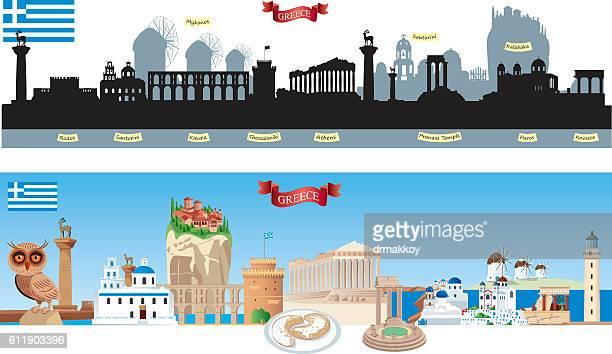 greece symbols - santorini stock illustrations