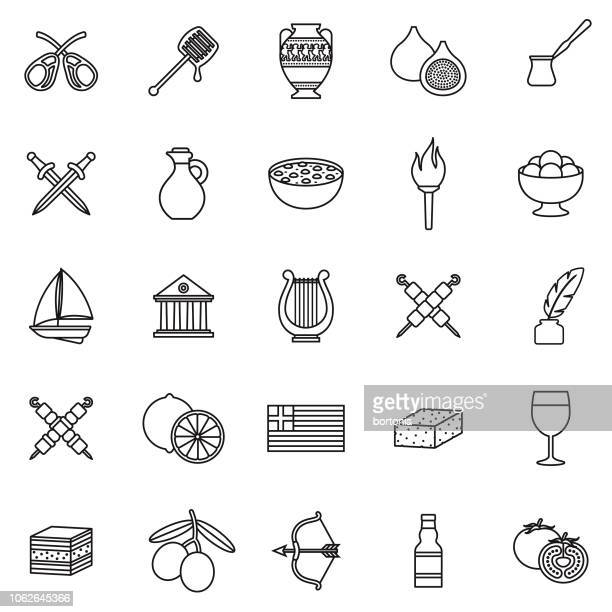 greece thin line outline icon set - greece stock illustrations