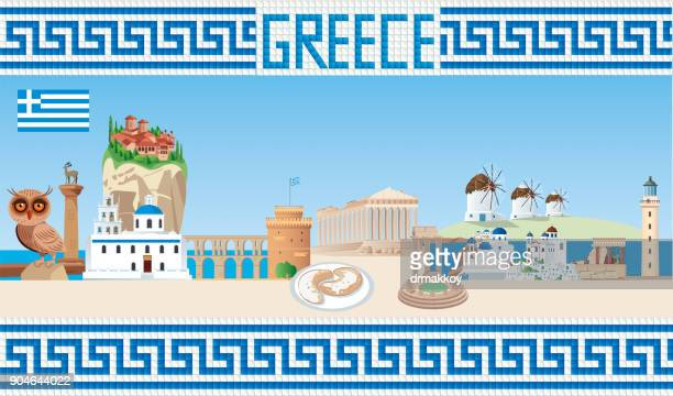greece travel - volcanic crater stock illustrations, clip art, cartoons, & icons