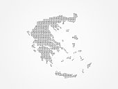 Greece vector map illustration using binary digits or numbers on light background to mean digital country and advance technology