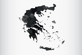 Greece watercolor map vector illustration of black color on light background using paint brush in paper page
