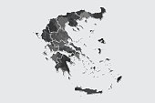 Greece watercolor map vector illustration of black color with border lines of different regions or provinces on light background using paint brush in page