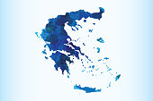 Greece watercolor map vector illustration of blue color on light background using paint brush in paper page