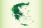 Greece watercolor map vector illustration of green color on light background using paint brush in paper page