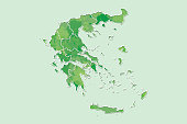 Greece watercolor map vector illustration of green color with border lines of different regions or provinces on light background using paint brush in page