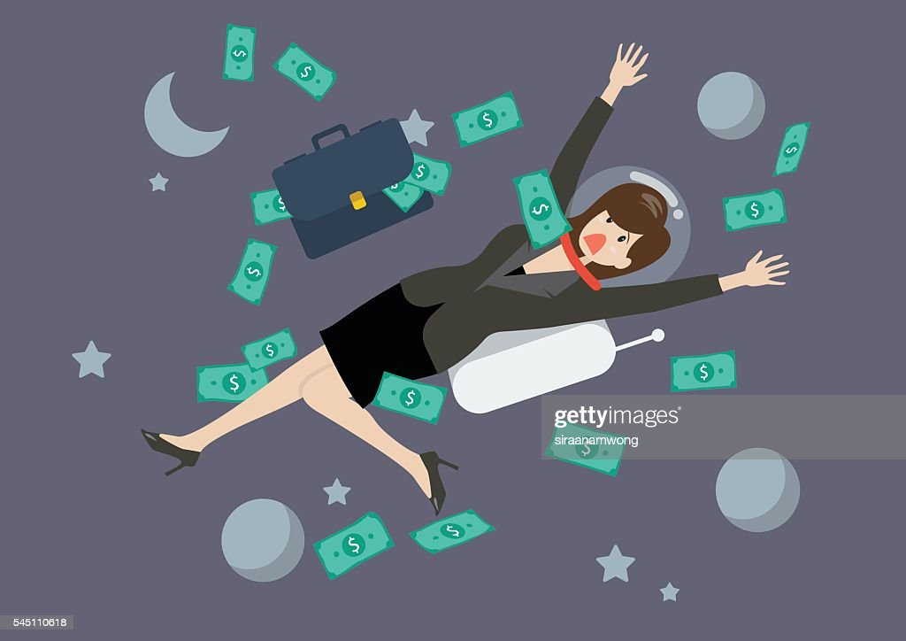 Greedy business woman floating in the space