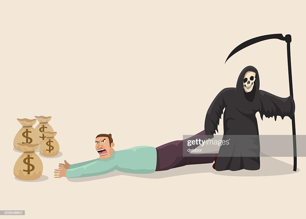 Greedy man facing death