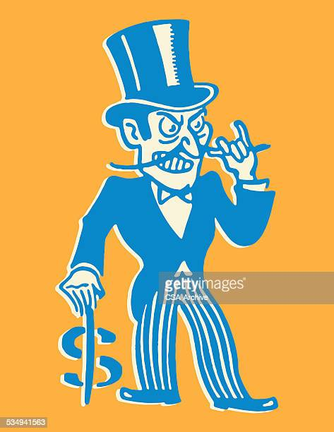 gierig mann mit dollar-zeichen für walking cane - reichtum stock-grafiken, -clipart, -cartoons und -symbole