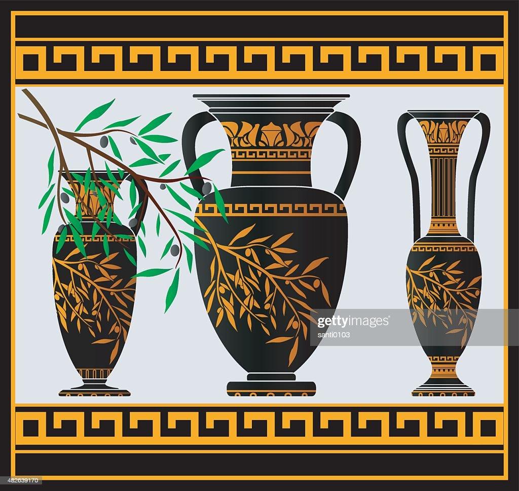 greek amphoras and jug