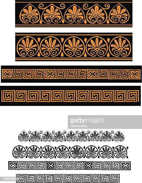 greek borders - classical greek style stock illustrations