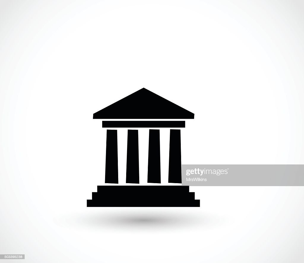 Greek building with columns icon vector illustration