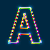 Greek Capital Letter Alpha. Multicolor outline font with glowing effect on blue background.