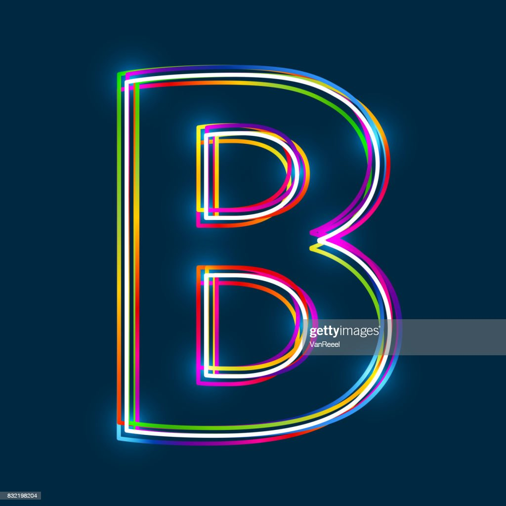 Greek Capital Letter Beta. Multicolor outline font with glowing effect on blue background.