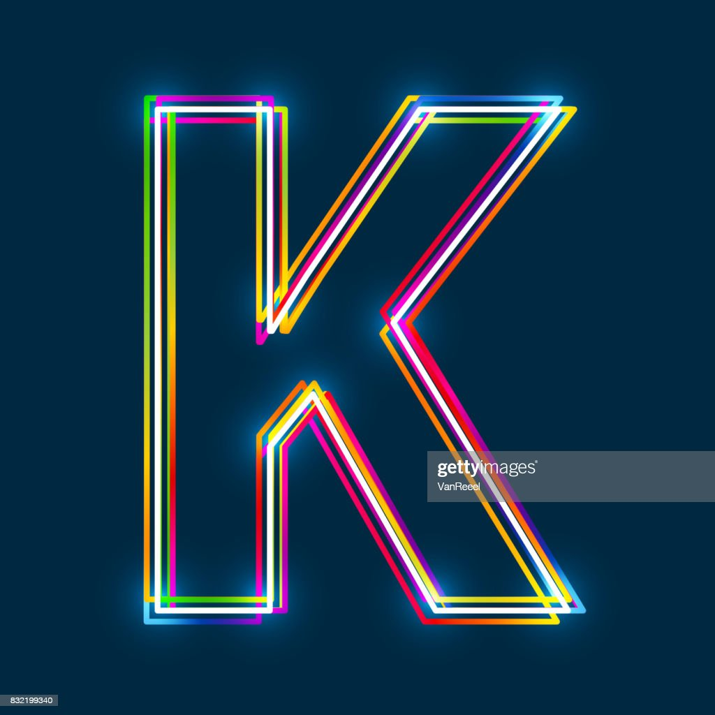 Greek Capital Letter Kappa. Multicolor outline font with glowing effect on blue background.
