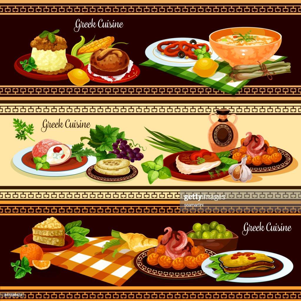 Griechische Küche Gerichte Banner Set Vektorgrafik   Getty Images