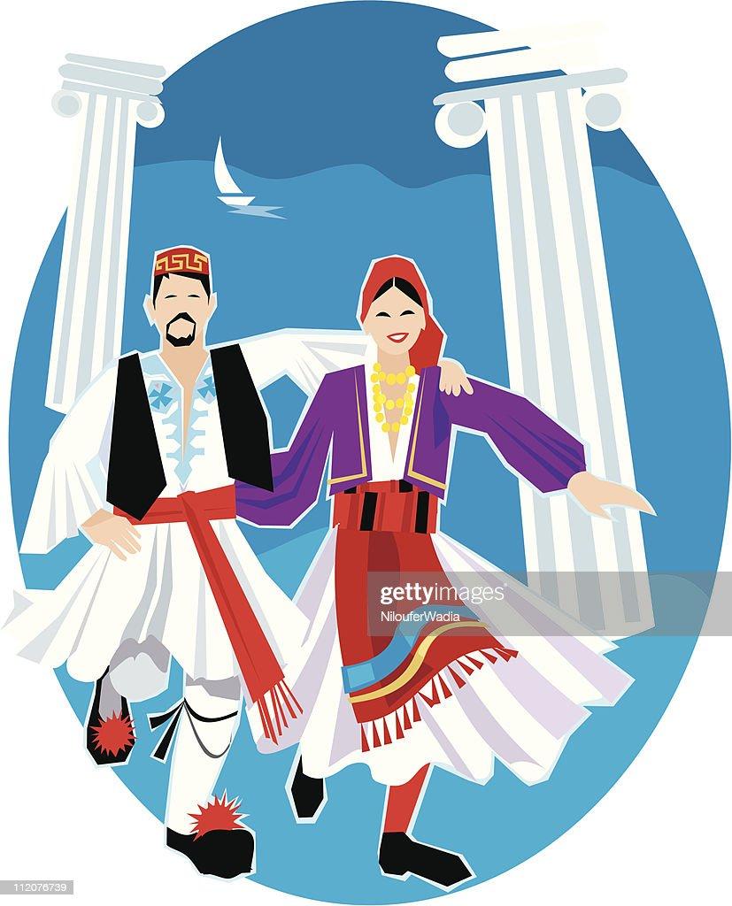 Greek Dancers : stock illustration
