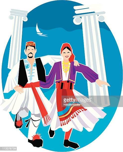 greek dancers - greek culture stock illustrations, clip art, cartoons, & icons