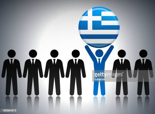 Greek Flag Button with Business Concept Stick Figures