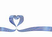 Greek flag heart-shaped ribbon. Vector illustration.