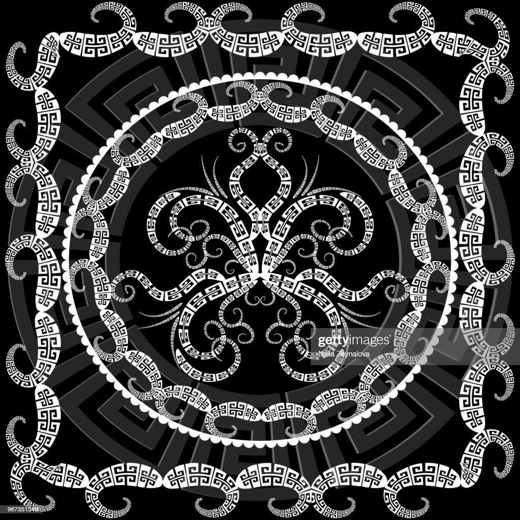 Greek floral butterfly mandala pattern with frame.