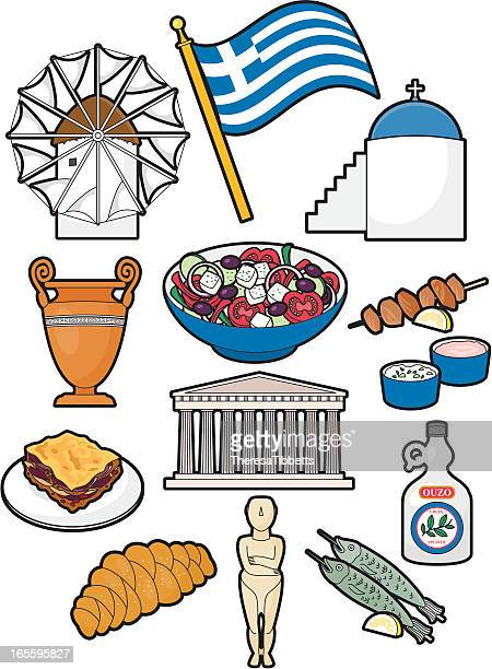 greek food and culture - onion dome stock illustrations, clip art, cartoons, & icons