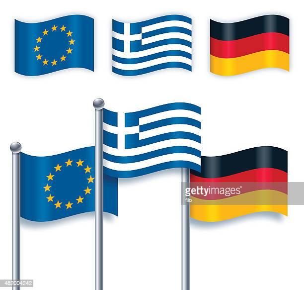 griechische, deutsch und europäische union flaggen - deutsche flagge stock-grafiken, -clipart, -cartoons und -symbole
