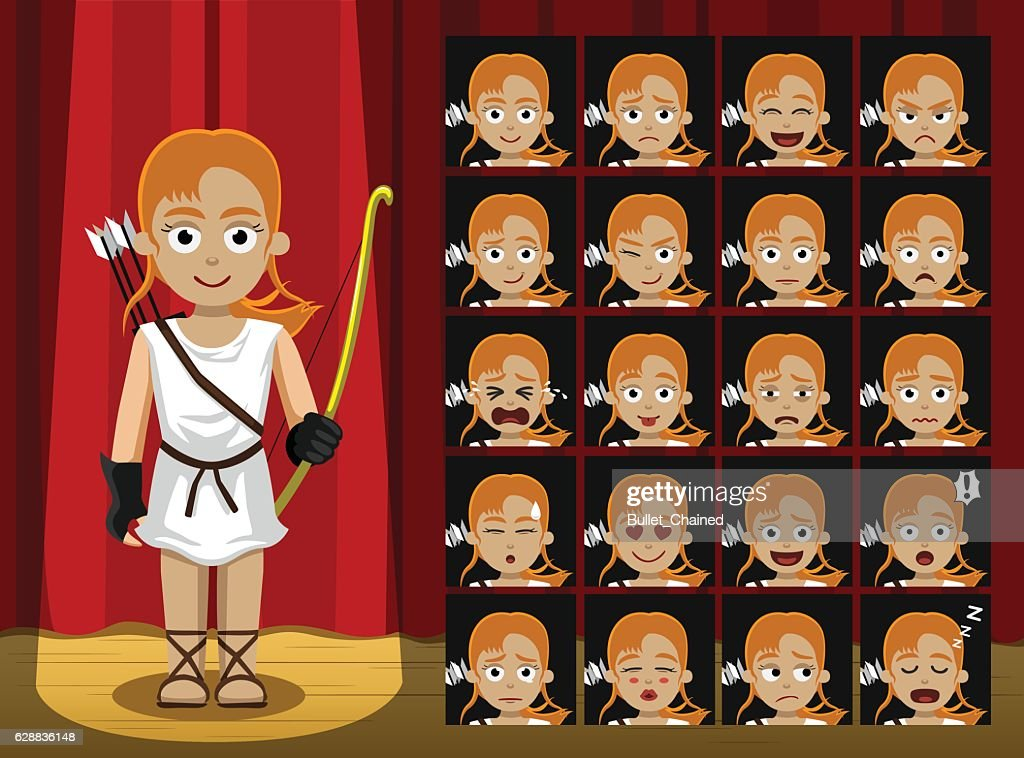 Greek Gods Artemis Costume Cartoon Emotion faces Vector Illustration
