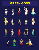 Greek Gods Costume Set Characters Cartoon Vector Illustration